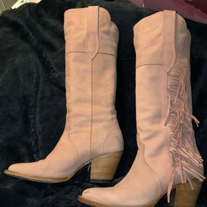 56c20928646 Kacey for Lucchese pink suede cowgirl boots.